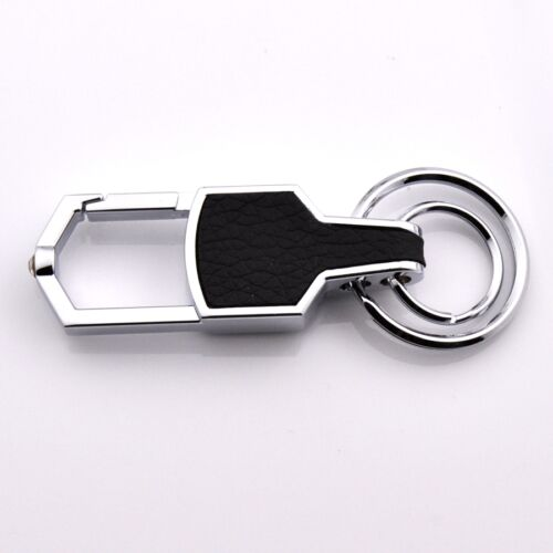 Double Ring Car Logo Metal Leather Key chains Silver keyring For Toyota-HOT##