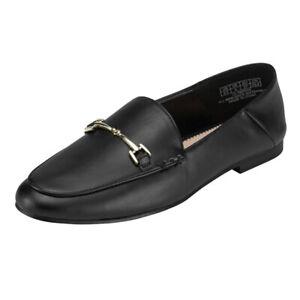 JENN-ARDOR-Women-039-s-Black-Flats-Penny-Loafers-Slip-On-Comfortable-Office-Shoes