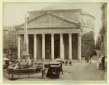 c1870 Italy Roma Rome Pantheon Exterior Interior 2 Antique Albumen Photographs