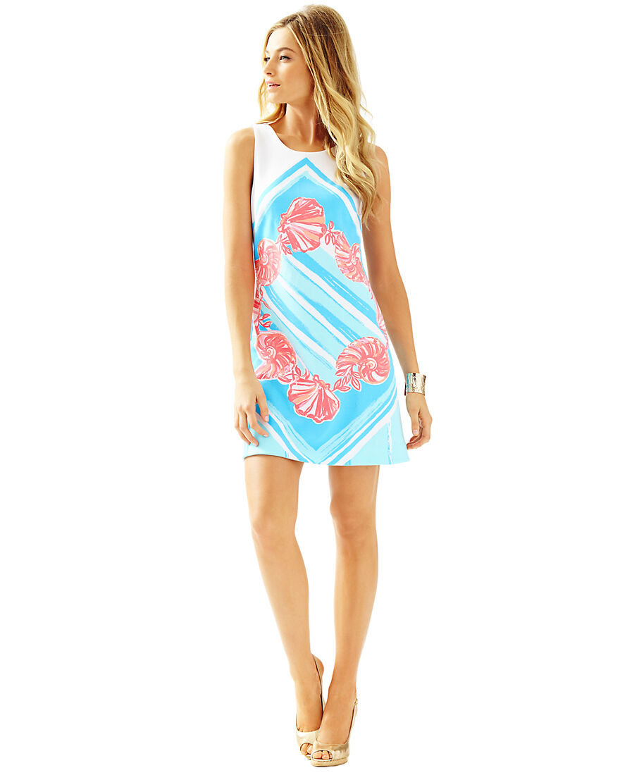 NWT Lilly Pulitzer Callie Shift Dress Pool Blau For The Shell of It sz M,