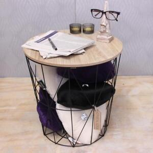 Image Is Loading Wooden Side Table Metal Wire With Lid Storage