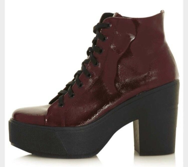 Women's Topshop thick sole with wedge patent lace up boots