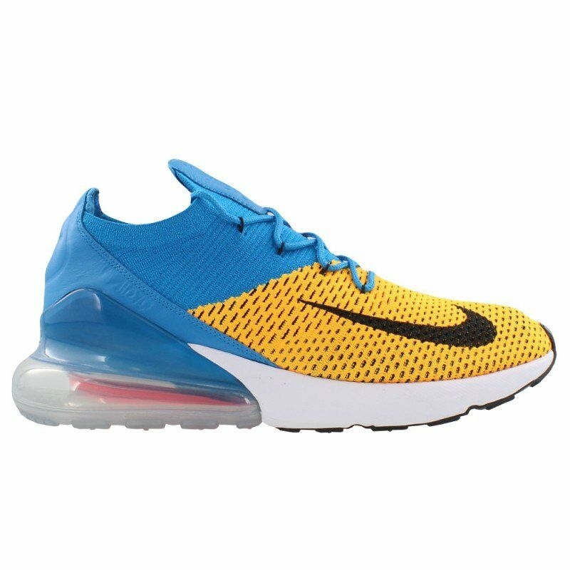 Nike Air Max 270 Flyknit Mens AO1023-800 Laser Orange Blue Orbit Shoes Comfortable Wild casual shoes
