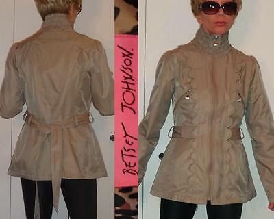 UNIQUE RARE BETSEY JOHNSON BEIGE/OLIVE LONG BELTED JACKET COAT FRONT SCALLOPS S