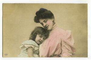 c-1907-Children-Chld-Pretty-PRETTY-MOTHER-CUTE-Little-Girl-photo-postcard