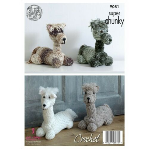 King Cole Crochet Pattern Stuffed Toy Doorstop in Big Value Super Chunky 9081
