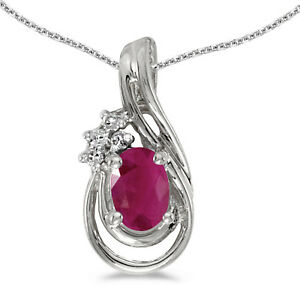 14k White Gold Oval Ruby And Diamond Teardrop Pendant (Chain NOT included)