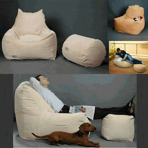 Design Sitzsack Bezug Sessel Sitzkissen Bean Bag Inkl Hocker Mit