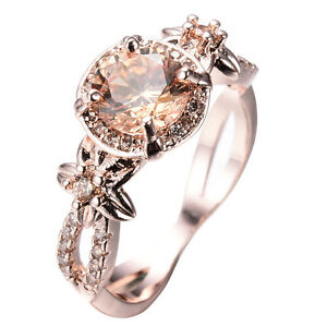 JUNXIN Brand Champagne Topaz Wedding Ring 10KT Rose Gold Filled