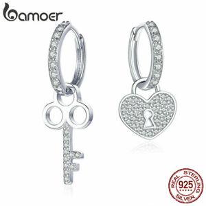 BAMOER-Genuine-S925-Sterling-silver-Women-Hook-Earrings-Love-lock-amp-CZ-Jewelry