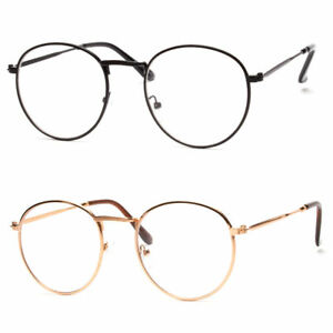 802140b1b3 Vintage Style Clear Lens Round Glasses Gold Black Metal Frame Unisex ...