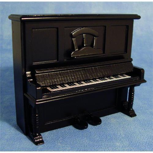 Noir piano droit pour 1:12 échelle maison de poupées