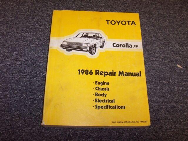 1986 Toyota Corolla Ff Workshop Shop Service Repair Manual Dx Le Sr5 Gts 1 6l
