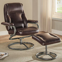 Manual Recliner Chair Brown Lounger Leather Sofa Seat Home Theater Living Room