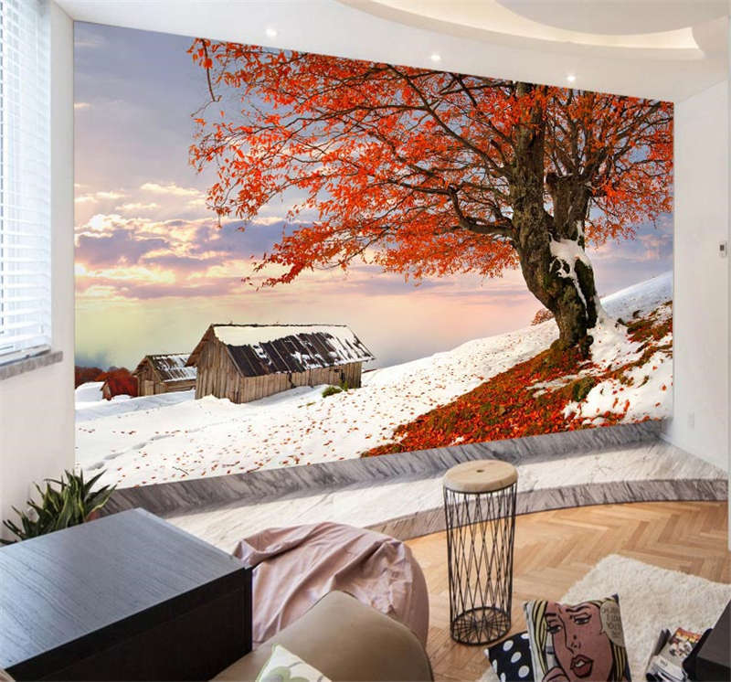 Autumn Winter Together Full Wall Mural Photo Wallpaper Print Kids Home 3D Decal