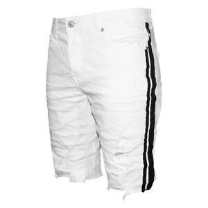 Bermuda-Uomo-Bianco-Pantaloni-Corti-Casual-Cotone-Strappato-Striscia-Nera-SARANI