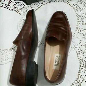 ENZO-ANGIOLINI-BROWN-LEATHER-WOMENS-LOW-HEEL-LOAFERS-Career-SHOES-10M-22