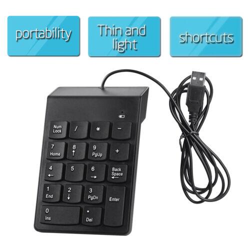 USB Number Pad Numpad Numeric Keypad 18 Keys Keyboard For Laptop Deskto PCB PQ