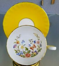 AYNSLEY ENGLAND YELLOW TEA CUP AND SAUCER BUTTERFLY & FLOWERS GOLD TRIM