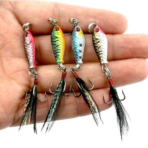4Pcs//set Hard Metal Fishing Lures Small Minnow Lure Bass Crank Bait Tackle Hooks
