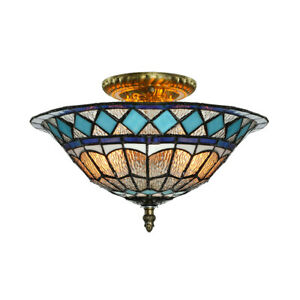 Stained-Glass-Ceiling-Lamp-Tiffany-Semi-Flush-Mount-Lighting-Fixture-2-lamp