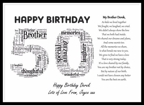 1 Of 5FREE Shipping Personalised Special Brother Poem Word Art 40 50 60 65th Birthday Gift Present
