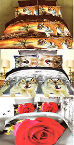 3D Effect King/double Size 3 PCS Bedding Duvet Set Tiger Red Rose Wolf