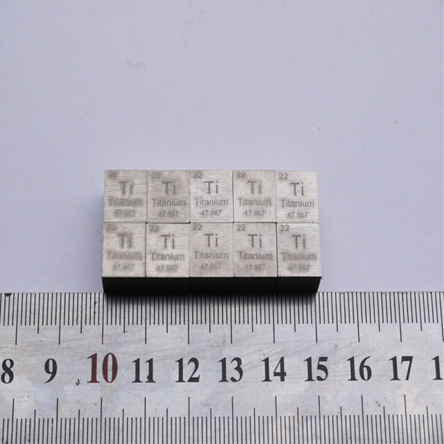 1PC 99.5% High Purity Titanium Ti Metal Carved Element Periodic Table 10mm Cube