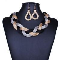 Chic Women Lady Golden Weave Choker Bib Necklace +Stud Earrings Jewelry Set