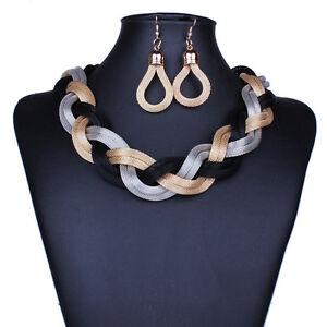 Chic-Women-Lady-Golden-Weave-Choker-Bib-Necklace-Stud-Earrings-Jewelry-Set