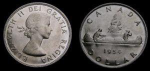 1954-Canada-Silver-1-One-Dollar-Queen-Elizabeth-II-SWL-AU-58