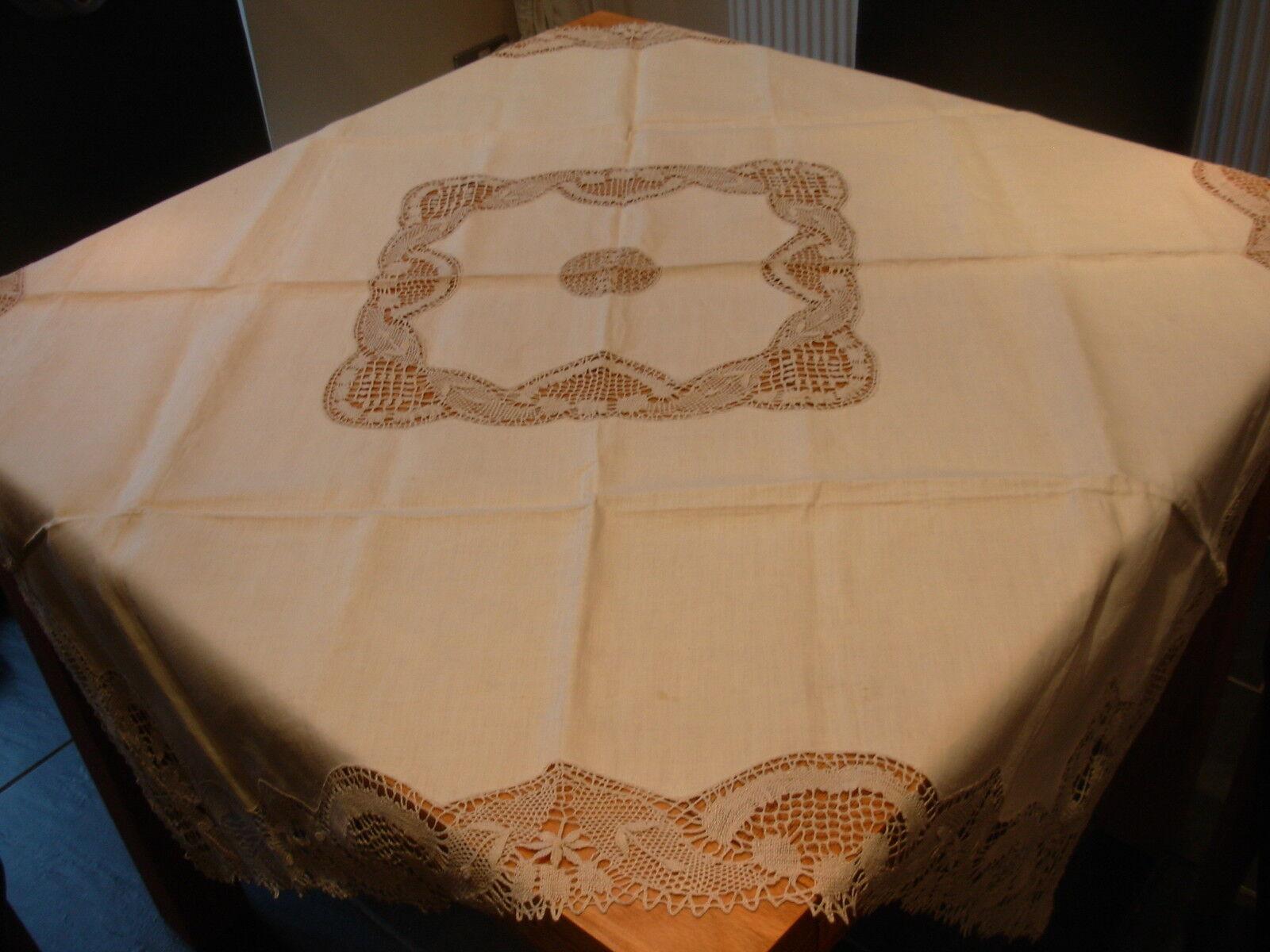 VINTAGE CREAM TABLECLOTH 46 in SQUARE DELICATE CROCHET CENTRE & EDGING UNUSED