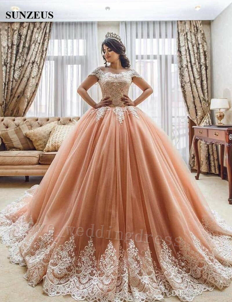 Arabic Dubai Ball Gown Quinceanera Dress Formal Wedding Evening Party Prom Gowns