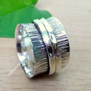 solid 925 sterling silver wide band brass /& copper spinner ring jewelry handmade good quality all us size free shipping