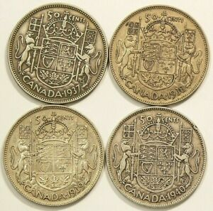1937-1938-1939-1940-Canada-50-Cents-Silver-Lot-of-4-6981