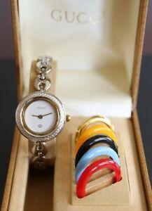 00456d6e851 Image Is Loading Authentic Gucci Las Watch Interchangeable Bezels Marine  Bracelet