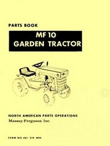 MASSEY-FERGUSON-MF-10-Garden-Tractor-Parts-Book-Manual