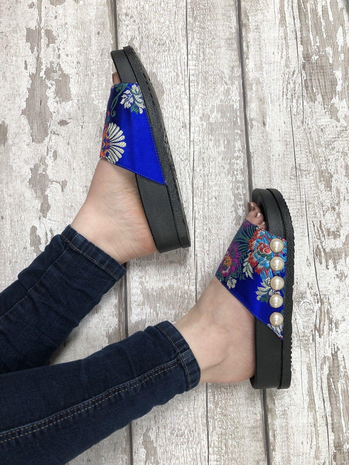 Blue Oriental Satin Sliders Size 6 Brocade Pearl Oriental Blue Floral Footbed Flip flops 0d4ceb