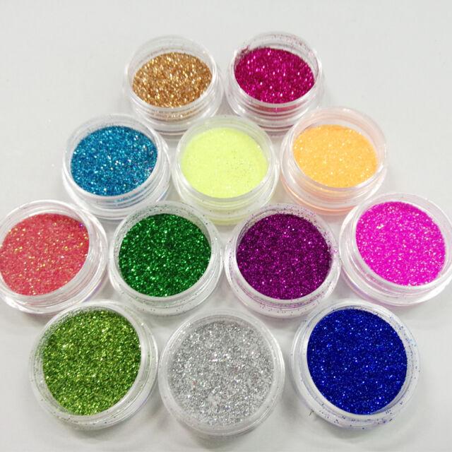 New Glitter Metal Nail Art Tool Acrylic UV Powder Dust Gem 12 Colors/1 Kit