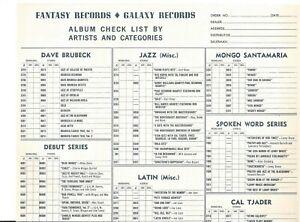 FANTASY RECORDS  GALAXY RECORDS  COMPLETE LIST OF LPS DEALER SALESMAN SHEET 1958