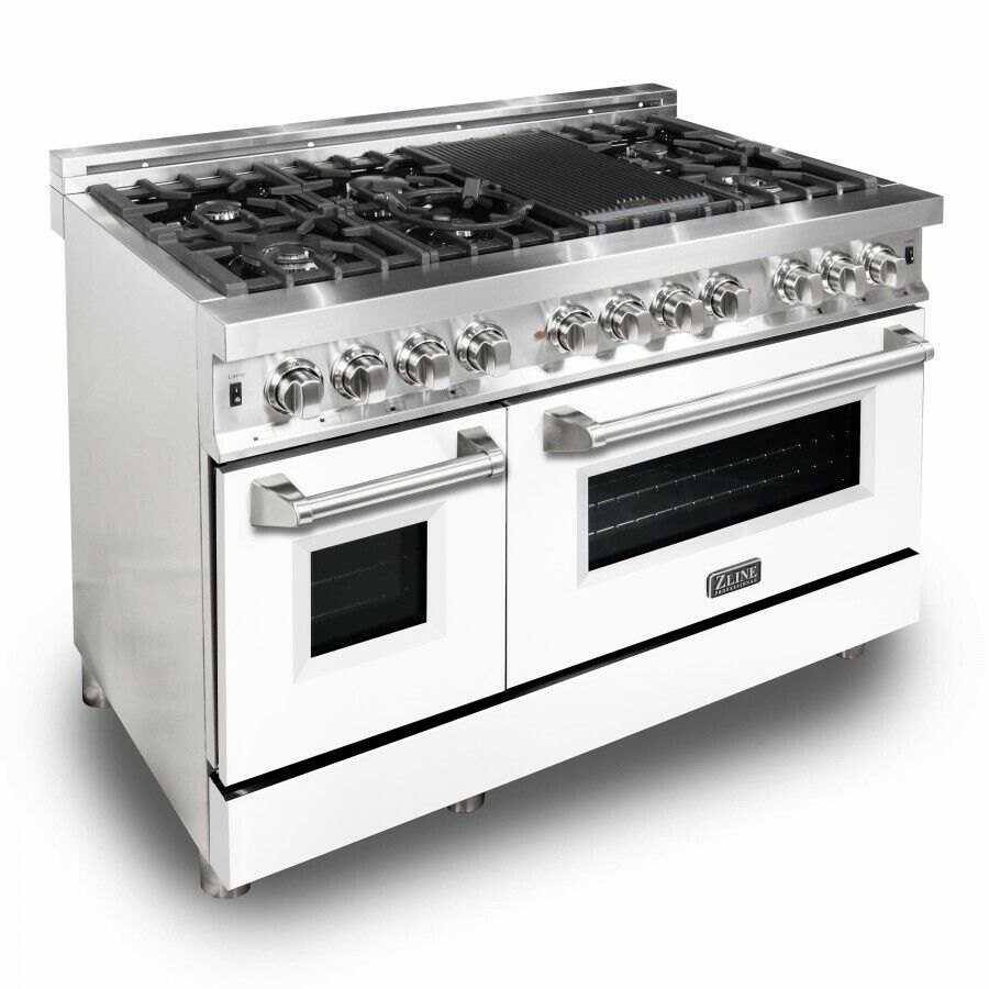 Zline 48 Dual Fuel Stainless Range Oven Gas Electric White Matte Door Ra Wm 48 For Sale Online