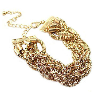 Nice Fashion Cuff Gold Plated Bangle Twisted Chain Bracelet Simple Gift Jewelry