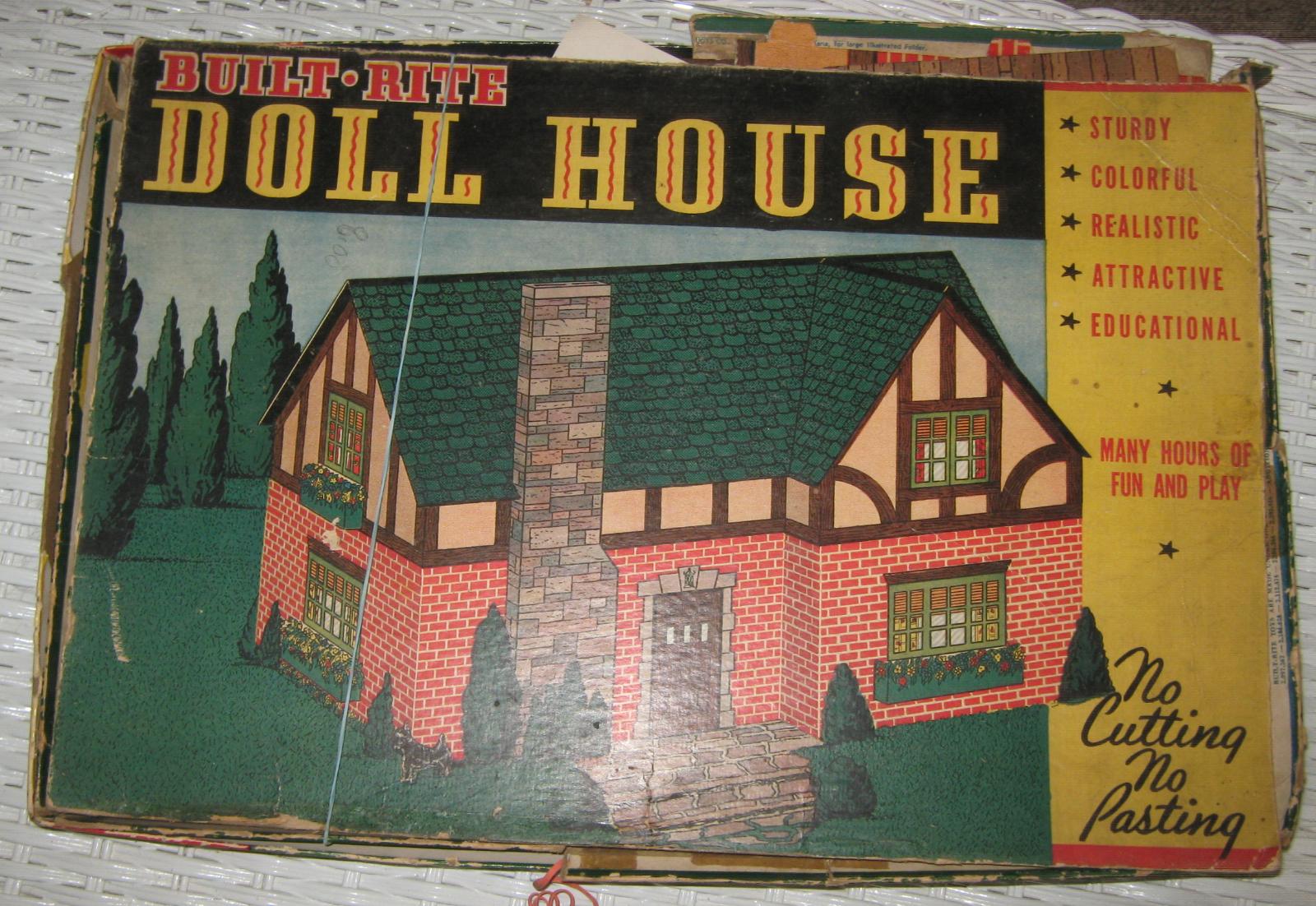 BUILT-RITE TUDOR STYLE CARDBOARD DOLL HOUSE w/ORIGINAL BOX  WARREN PAPER CO