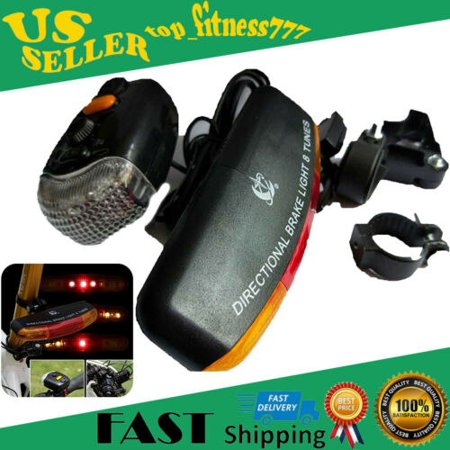 LED Bicycle Bike Turn Signal Directional Brake Light Lamp 8 sound Horn US STOCK