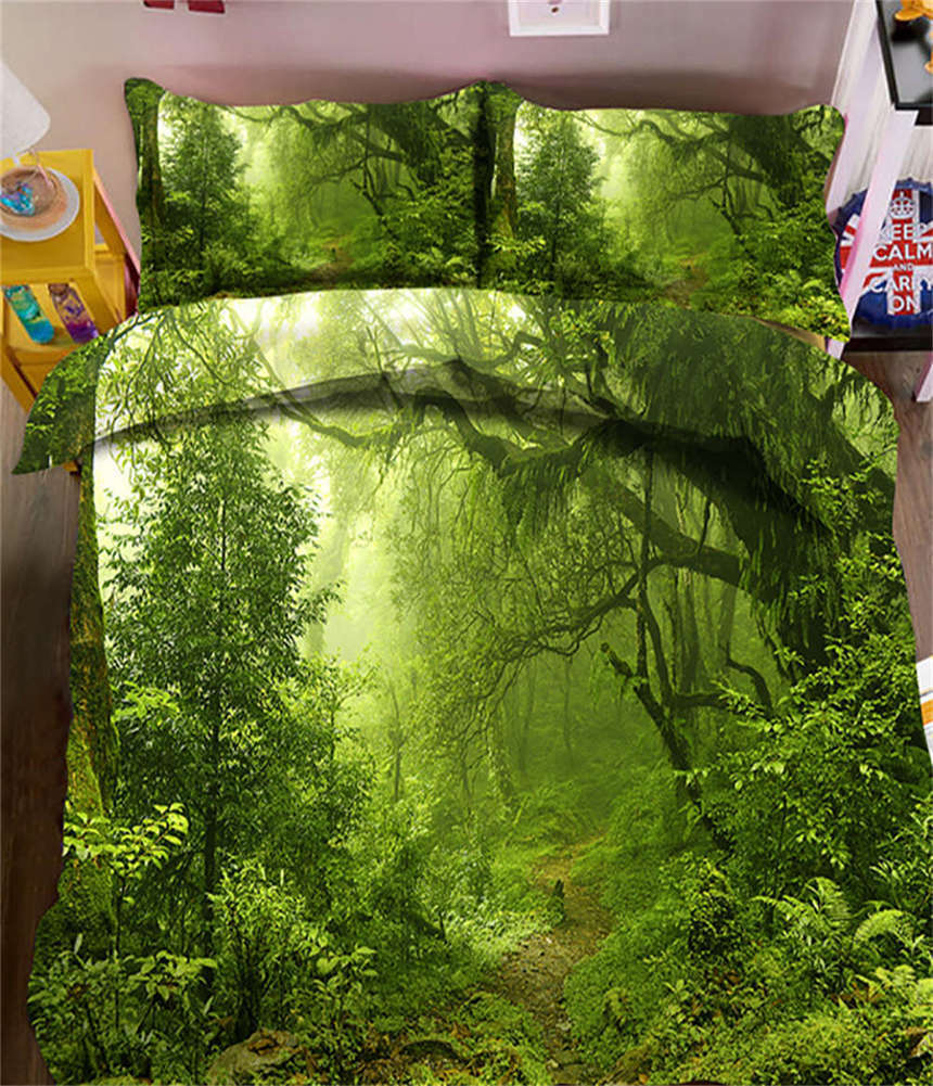 Misty Grün Woods 3D Printing Duvet Quilt Doona Covers Pillow Case Bedding Sets