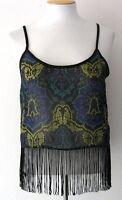 Ali & Kris Women/junior's Top Black/blue/green Geometric Print Fringes Sz L