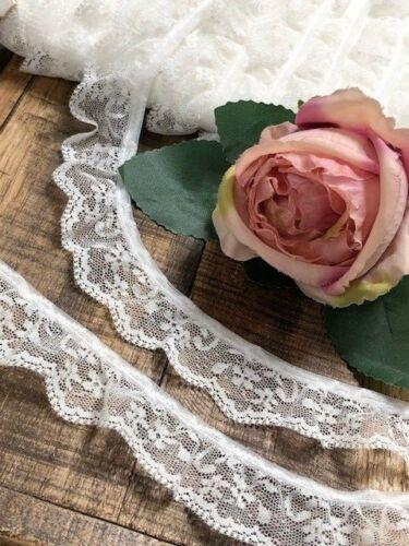 "laverslace Pretty Ivory Floral Gathered Lace Trim 1.25/""//3cm Sewing Costume Craft"