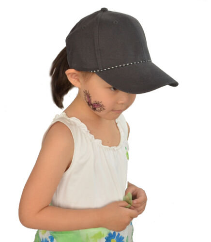 1 Kid Girl Diamante Love Heart Baseball Outdoor Sports Sun Hat Adjustable Cap
