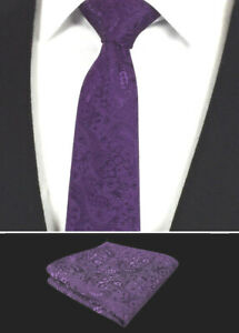 Para-Hombres-Corbata-Purpura-Set-Boda-Panuelo-Paisley-Floral-de-Seda