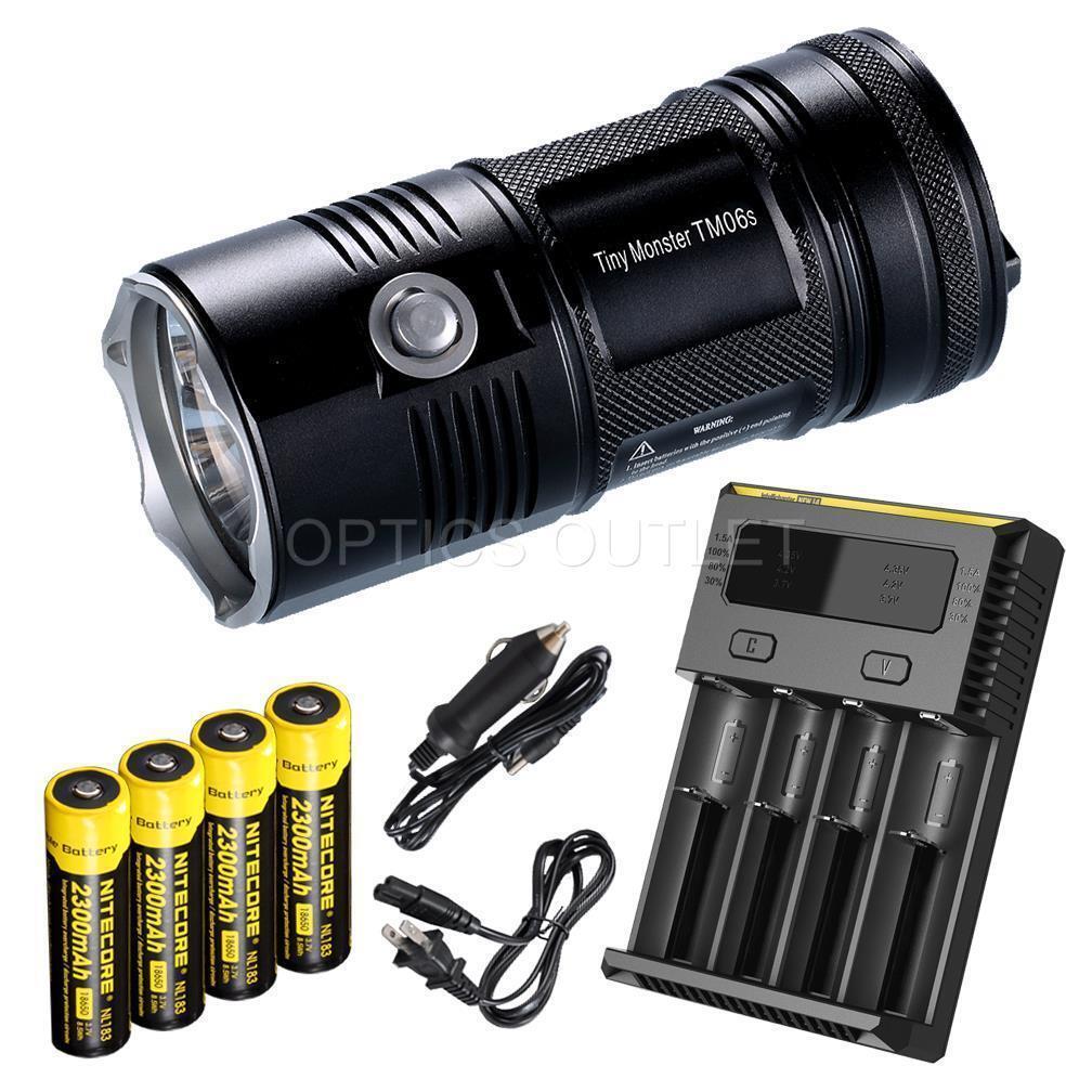 NiteCore TM06S 4000 lumens 393 Yard LED Flashlight w 4 x 18650 Recharger Kit